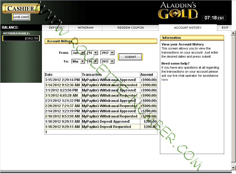 Aladdins Gold Casino Withdrawal report