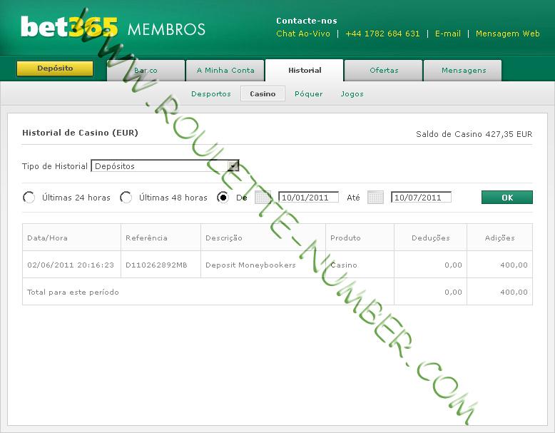 Bet365 Deposit Report