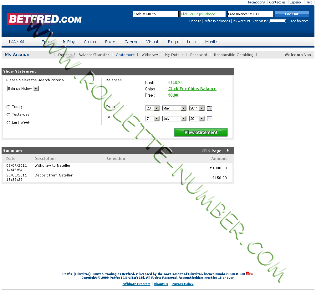 Betfred Withdrawal report
