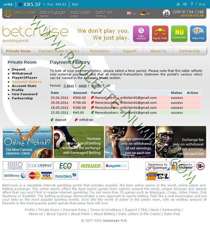 Erik Klein from Germany won 1,500 EUR at BetVoyager Casino