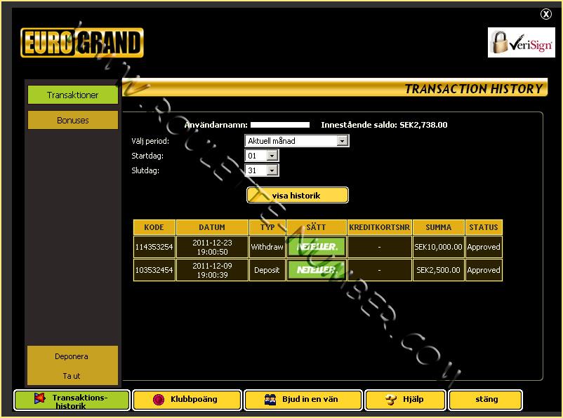 Eurogrand Casino Withdrawal report