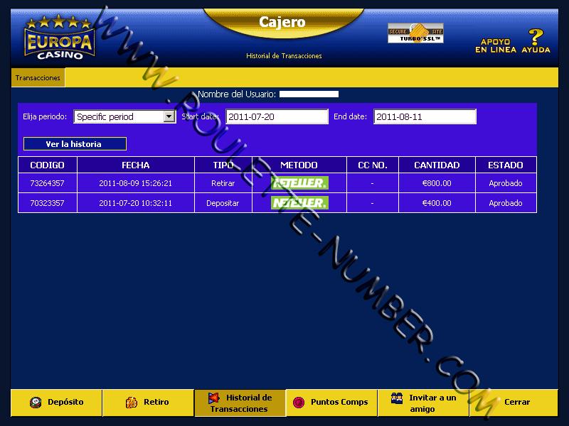 C. González aus Spanien gewann 800 EUR bei Europa Casino