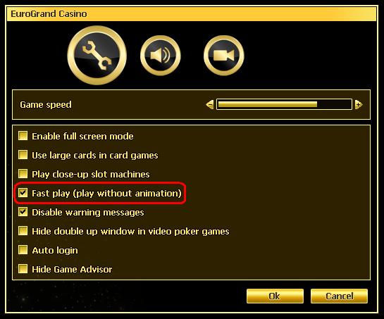 Casino.com Settings Window