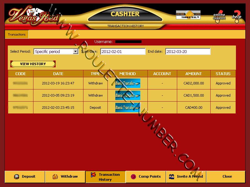 Vegas Red Casino Withdrawal report