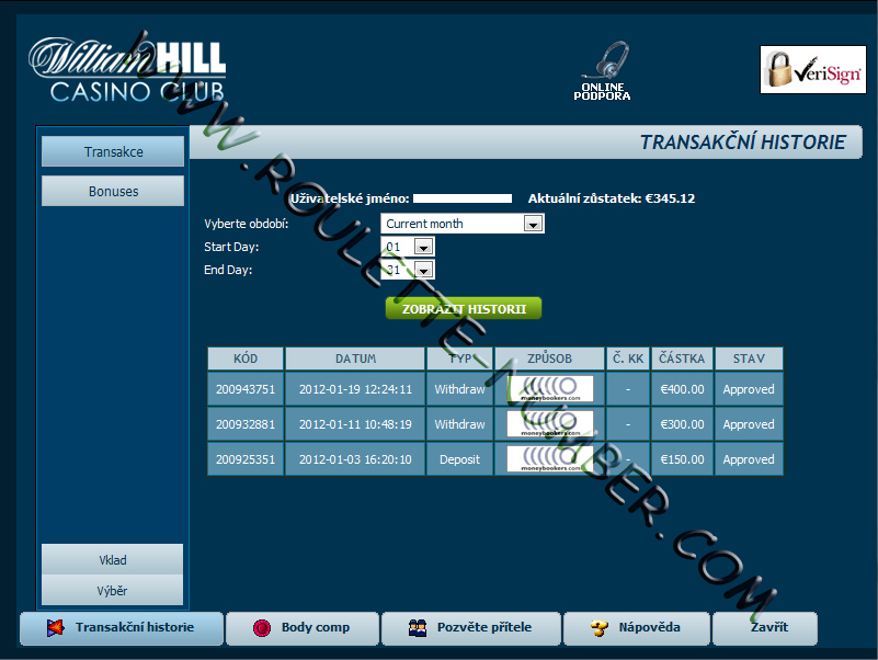 William Hill Casino Withdrawal report