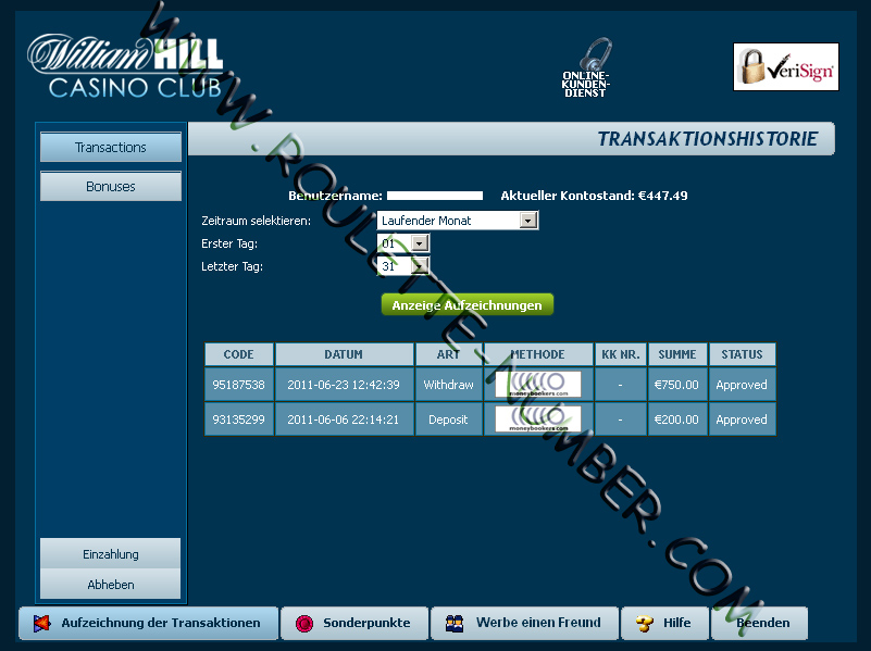 William Hill Casino Transactions Report